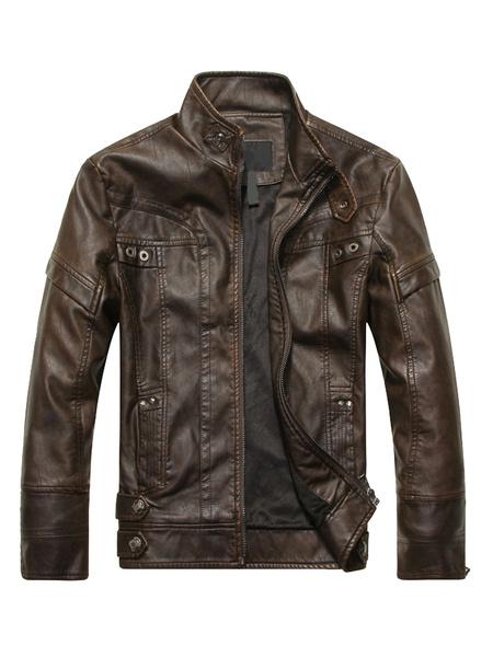 Milanoo Chaqueta de cuero de hombre 2020 chaqueta de primavera de moto cuello levantado manga larga con cremalleras