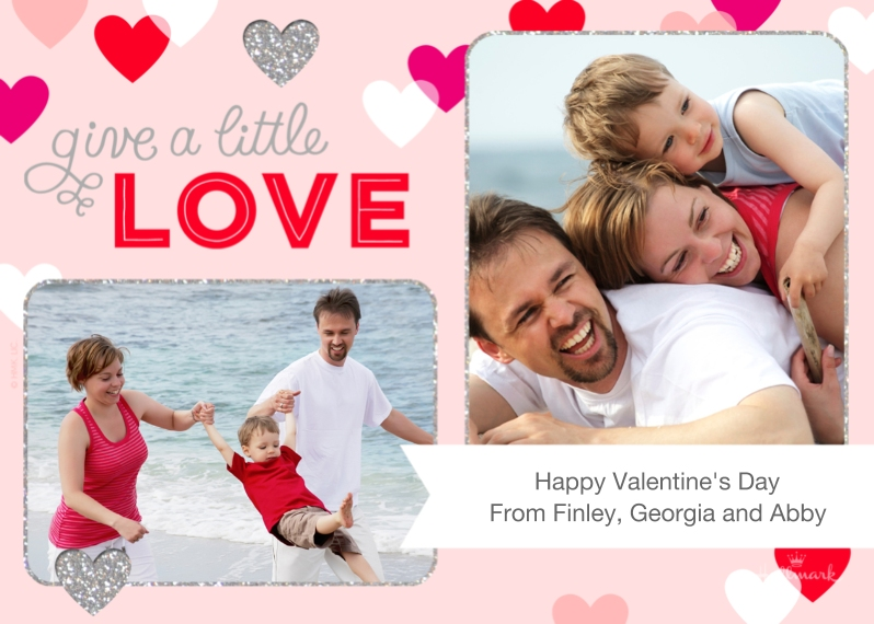 Valentine's Cards Mail-for-Me Premium 5x7 Folded Card , Card & Stationery -Glitter Hearts