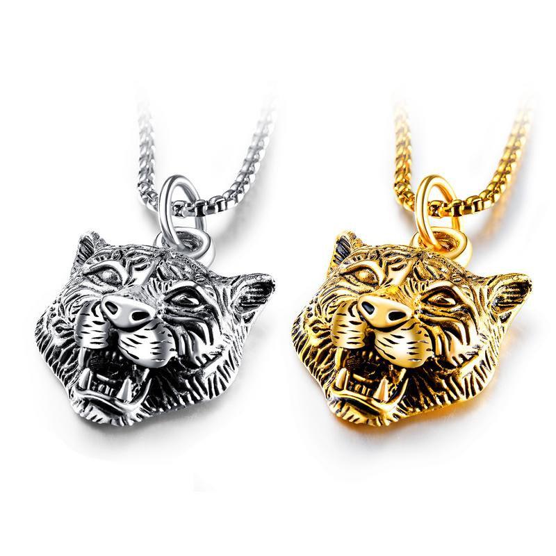 Punk Geometric Stereoscopic Tiger Pendant Necklace Titanium Steel Men's Necklace Vintage Jewelry