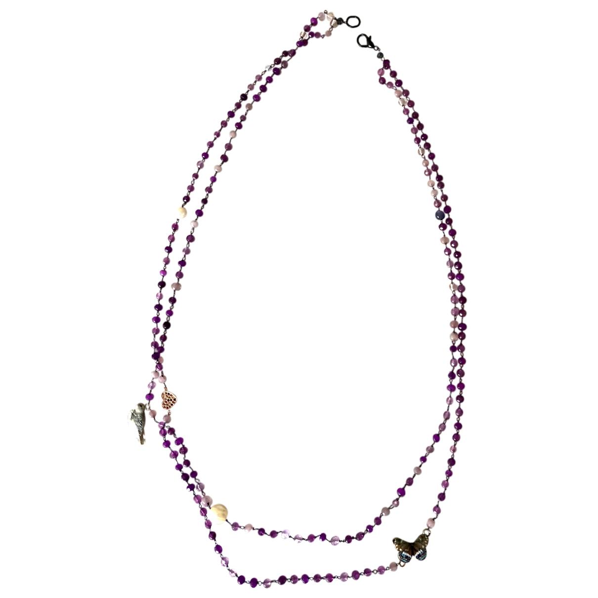 - Collier Agate pour femme en metal - violet