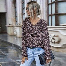 Ditsy Floral Ruffle Panel Blouse
