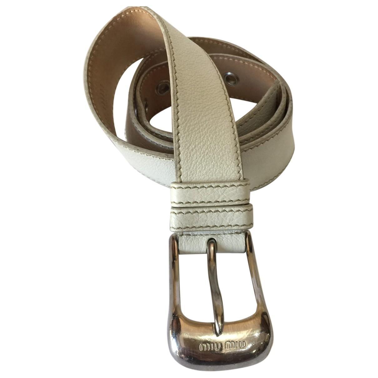 Miu Miu \N White Leather belt for Women 85 cm
