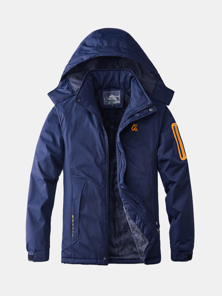 Mens Hooded Fleece Lined Thickened Warm Waterproof Breathable Outdoor Sport Casual Jacket