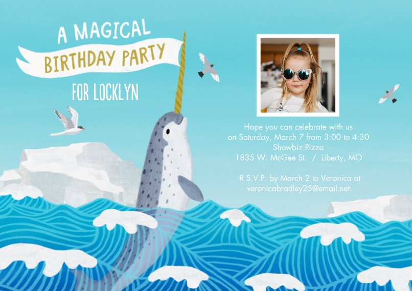 Kids Birthday Party Flat Glossy Photo Paper Cards with Envelopes, 5x7, Card & Stationery -Narwhal Magical Birthday Party by Hallmark