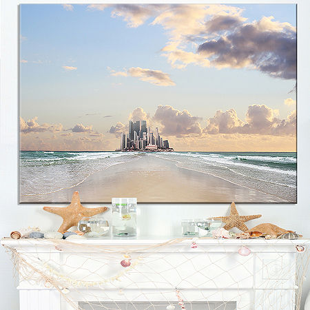 Designart Road Along The Beach To City Canvas Art, One Size , White