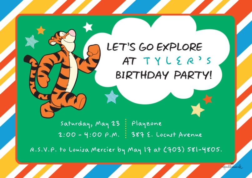 Kids Birthday Party Invites 5x7 Cards, Premium Cardstock 120lb with Elegant Corners, Card & Stationery -Let's Explore - Tigger