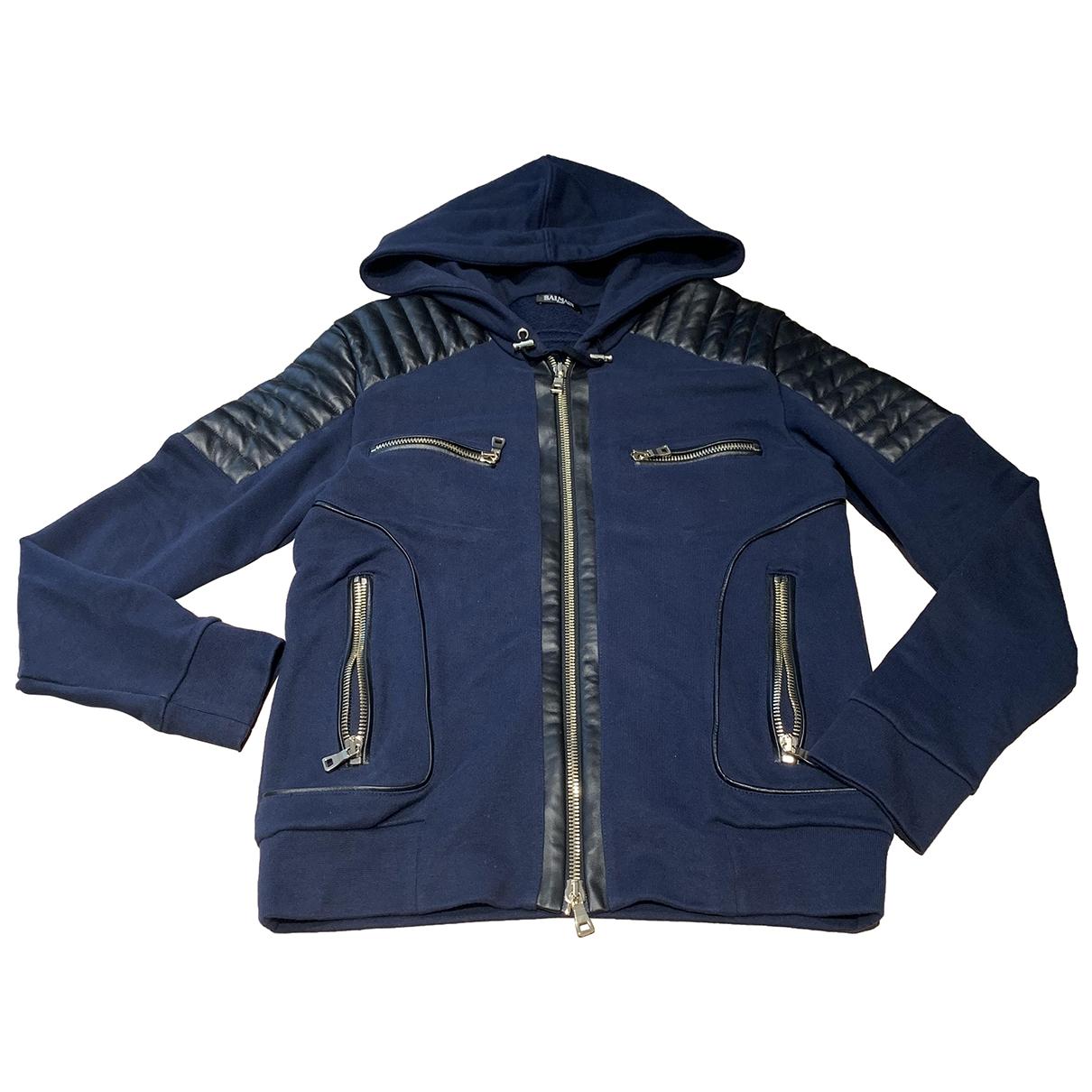 Balmain \N Navy Leather jacket  for Men S International