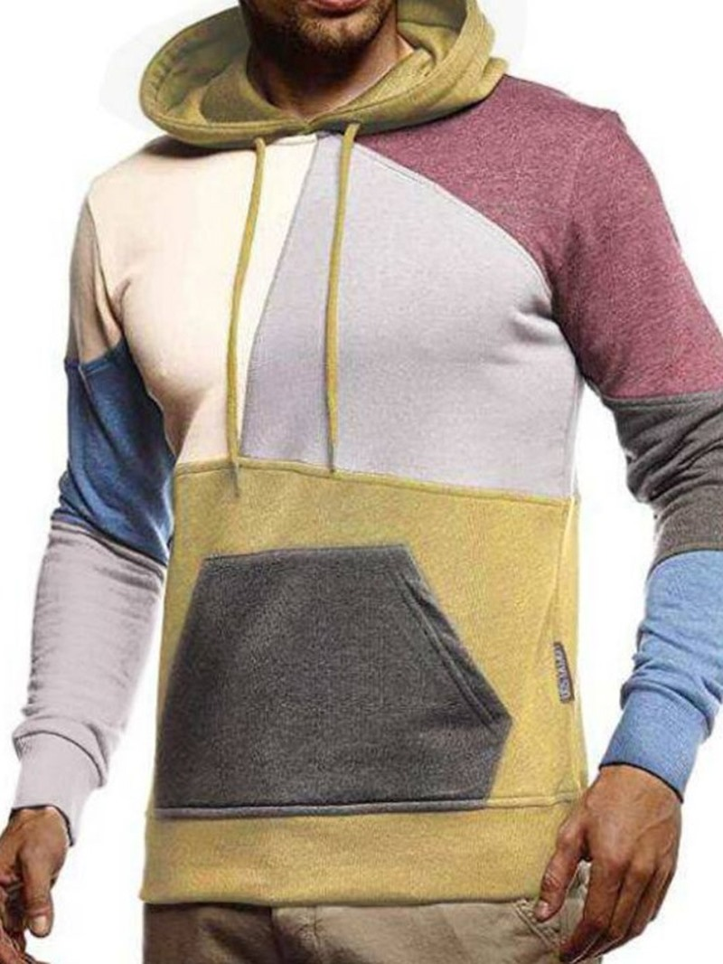 Ericdress Pullover Color Block Patchwork Fall Slim Hoodies