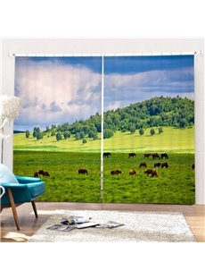 3D Horse Blackout and Dust-proof Curtain with Rural Scene for Living Room Bedroom Window Made of Thick 260g/㎡ Fabrics 100% Shading Rate