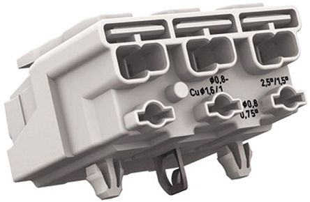 Wago 294 Series, Female 3P Pole Power Supply Connector, Rated At 24A, 500 V, White (500)