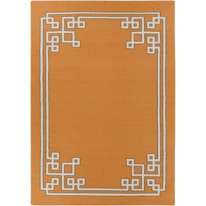 AMD1016-811 8 x 11 Rectangular Alameda Reversible 100% Wool Rug with No Pile and Hand Woven in India in Orange  Light Grey  and