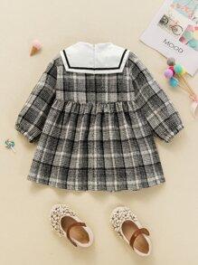 Baby Girl Plaid Sailor Collar Smock Dress