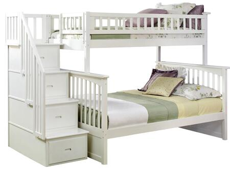 Columbia Collection AB55702 Twin over Full Bunk Bed with Staircase  Storage Drawers  Built-In Modesty Panel  Modern Style and Eco-Friendly Solid