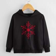 Sweatshirt mit Schneeflocken Muster und Kapuze