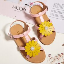 Toddler Girls Floral Appliques Sandals