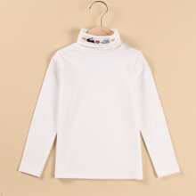 Girls Embroidery High Neck Plush Lined Tee