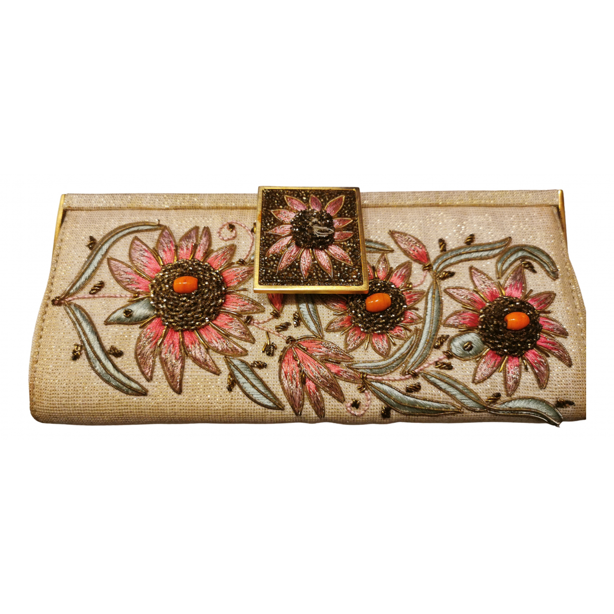 Badgley Mischka \N Clutch in  Gold Seide
