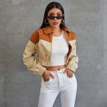 Contrast Faux Shearling Panel Colorblock Crop Jacket