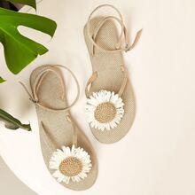 Sandalen mit Blumen Dekor und Zehenpfosten