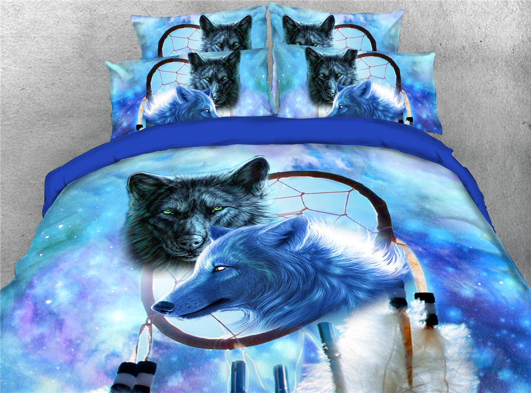 Couple Wolves Four-Piece Set Hand Wash Duvet Cover Set Polyester Bedding Sets
