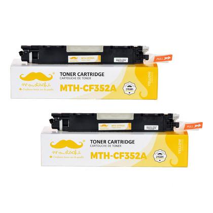 Compatible HP 130A CF352A cartouche de toner jaune - Moustache - 2/paquet