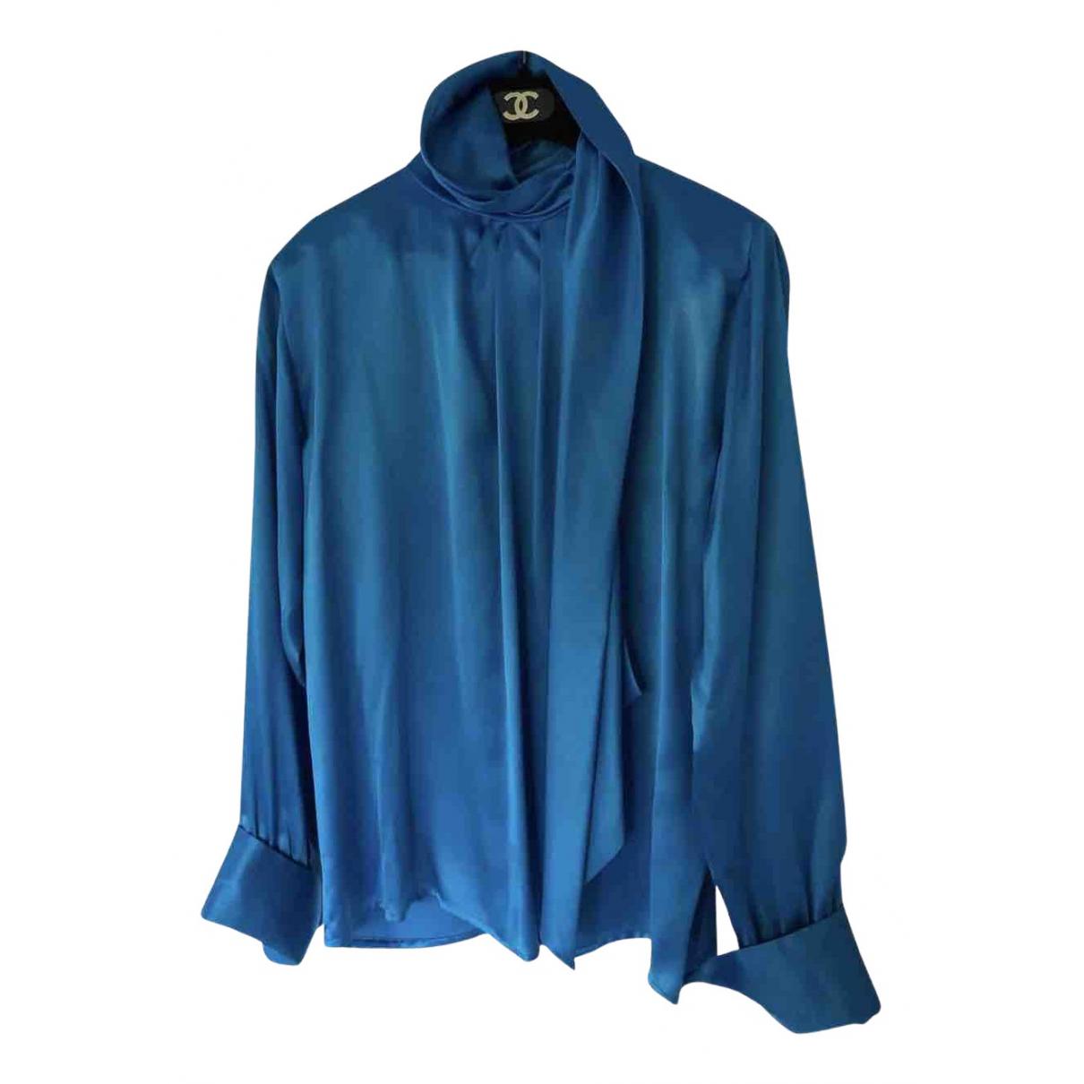 Yves Saint Laurent - Top   pour femme en soie - bleu