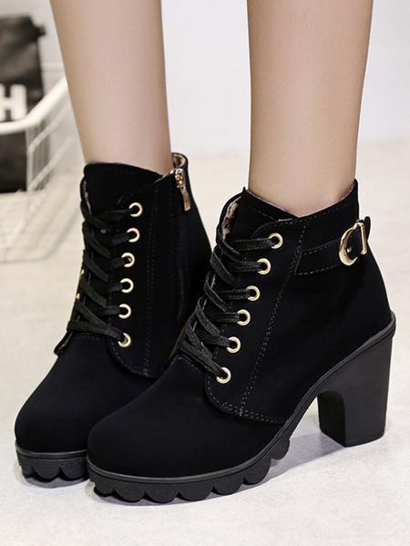 Yoins Thick Heel Martin Boots