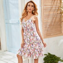 Cami Kleid mit Raffung und Blumen Muster