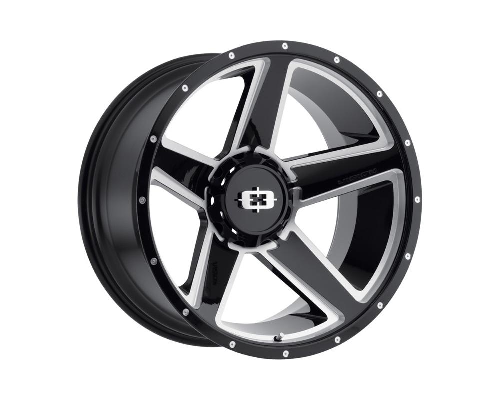 Vision Empire Gloss Black Milled Spoke Wheel 22x11.5 5x114.3/127 -44