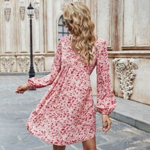 Allover Floral Tie Backless A-line Dress