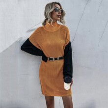 Cut And Sew Batwing Sleeve Sweater Dress Without Belted