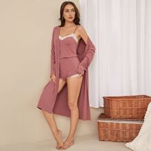 Contrast Lace Cami PJ Set With Robe