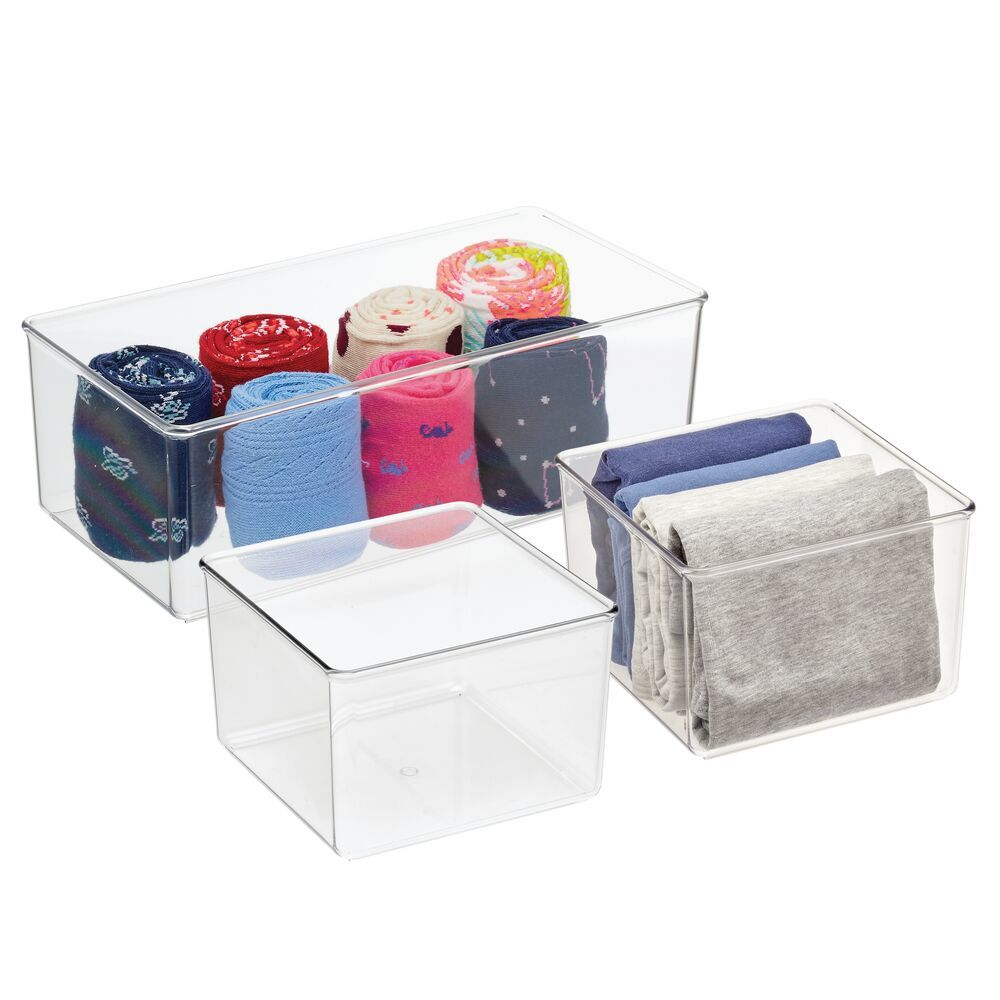 Plastic Drawer Organizers for Dresser Storage - Set of in Clear, 12