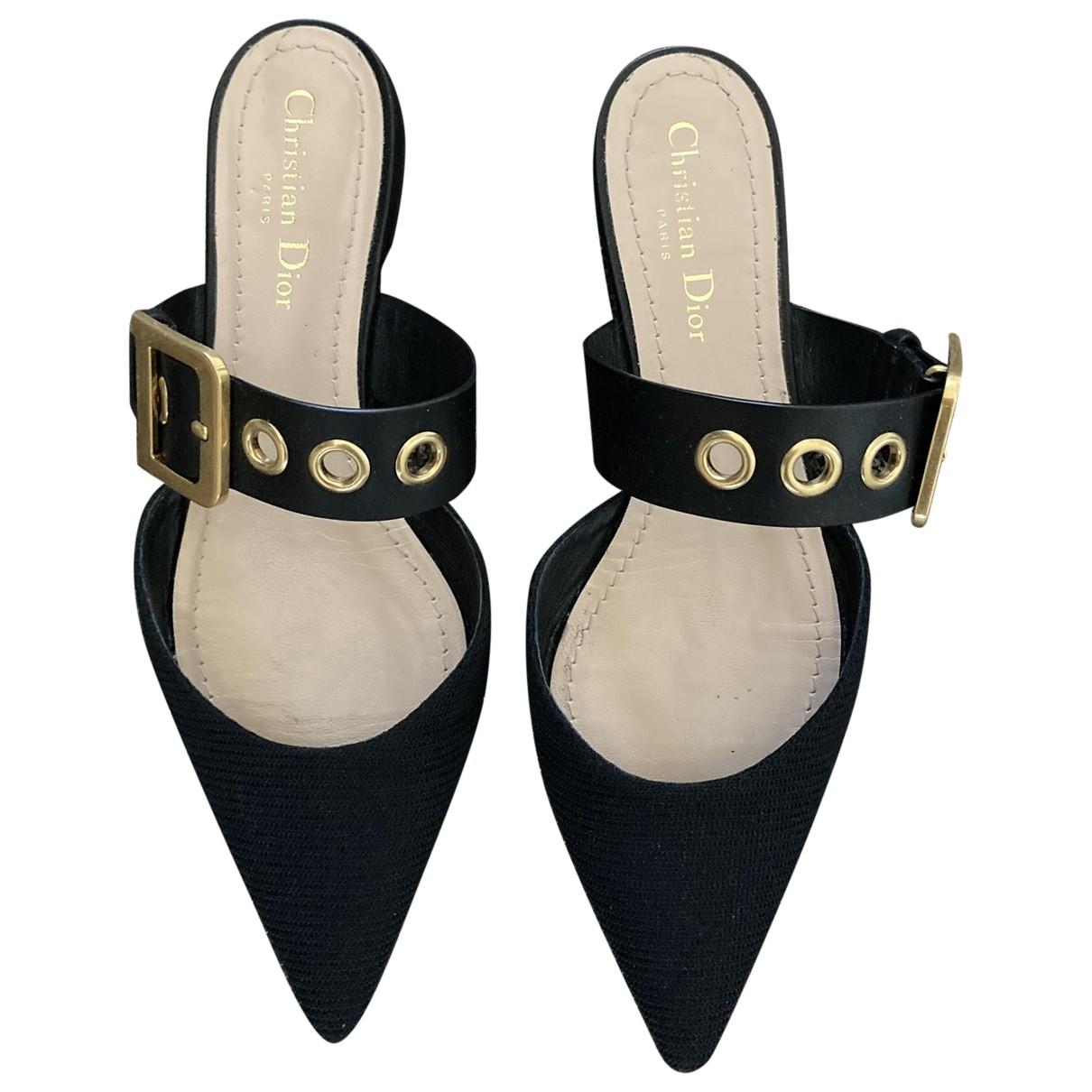 Dior New D Sandalen in  Schwarz Leinen