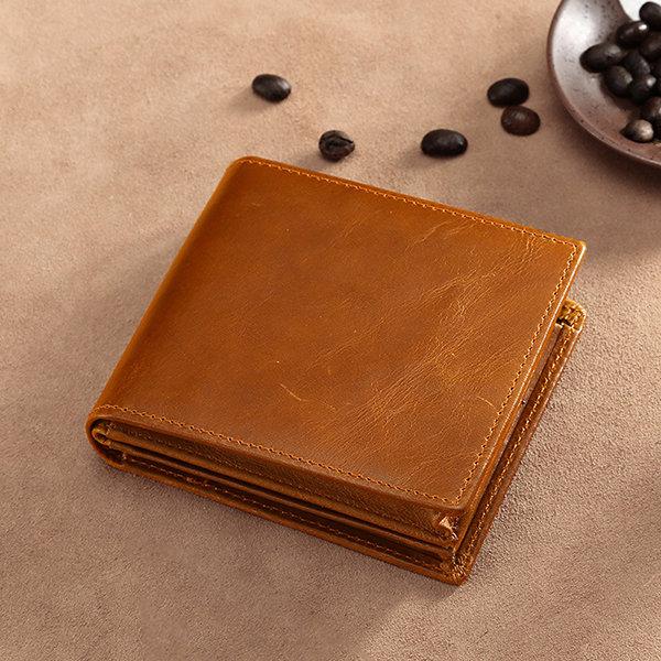 RFID Antimagnetic Vintage Multi-functional Genuine Leather Wallet For Men