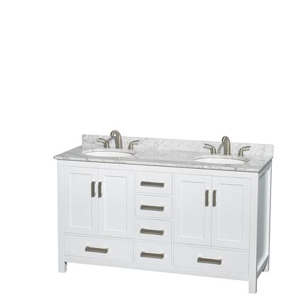 WCS141460DWHCMUNOMXX 60 in. Double Bathroom Vanity in White  White Carrera Marble Countertop  Undermount Oval Sinks  and No