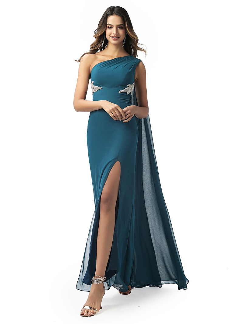 Ericdress Split-Front One Shoulder Sheath Evening Dress 2020