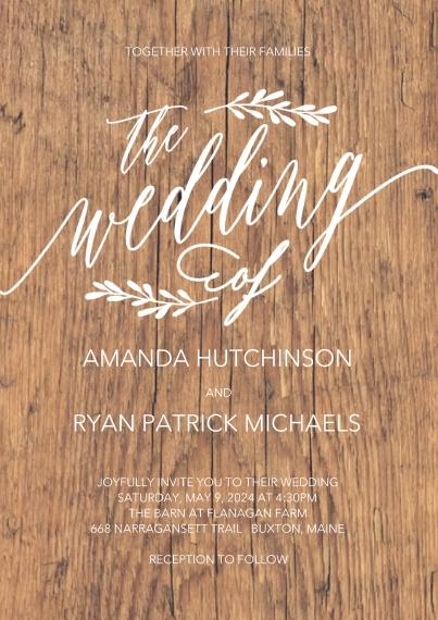 Wedding Invitations 5x7 Cards, Standard Cardstock 85lb, Card & Stationery -Wedding InvitationGold Leaves by Tumbalina