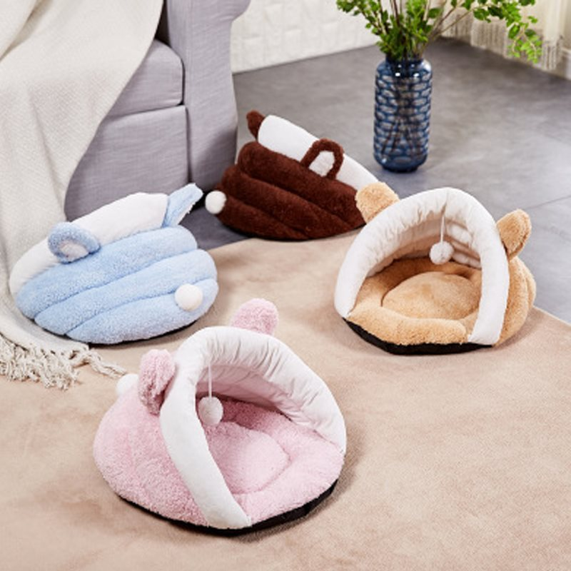 The Rabbit Ears With Plush Ball Soft And Interesting Cat House/Furniture
