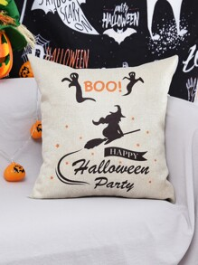 Halloween Witch Print Cushion Cover Without Filler