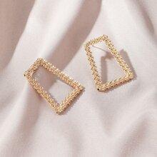 Geometric Hollow Trapezoid Earrings