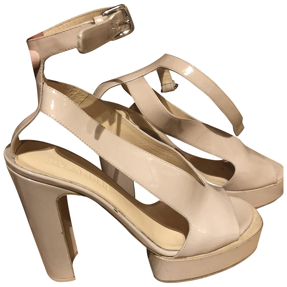 Jil Sander - Sandales   pour femme en cuir verni - beige