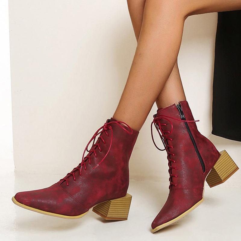 Ericdress Pointed Toe Block Heel Side Zipper Zipper Boots