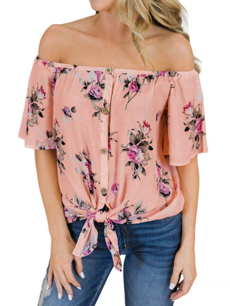 Ericdress Floral Off Shoulder Bowknot Short Sleeve Blouse