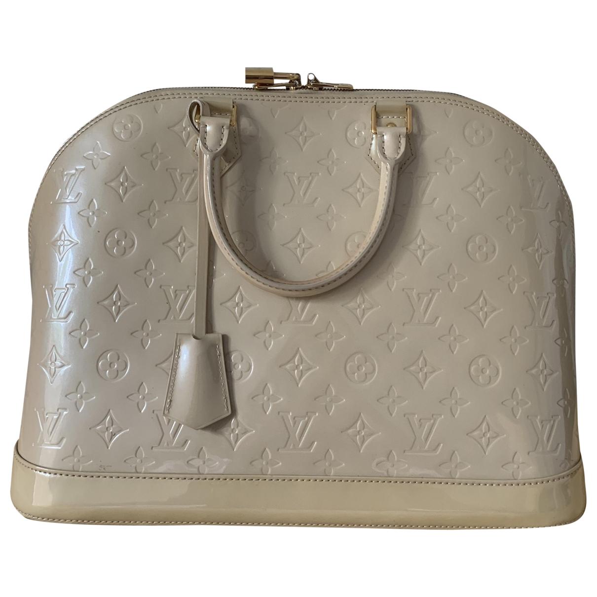 Louis Vuitton - Sac a main Alma pour femme en cuir - beige