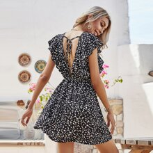 Ditsy Floral Ruffle Trim Tie Backless Dress