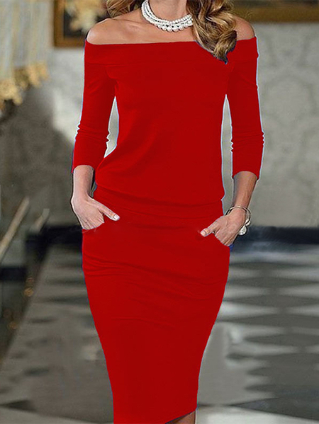 Yoins Off the shoulder Side Pockets Long sleeves Mini Dress
