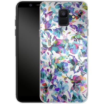 Samsung Galaxy A6 Silikon Handyhuelle - Aquatic Flowers Blue von Ninola Design