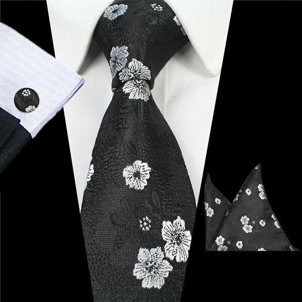 Men Business Formal Necktie Wedding Jacquard Flowers Bow Tie