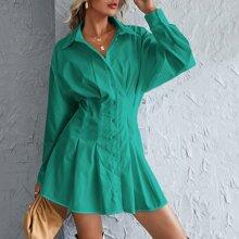Button Front Shirred Back Shirt Dress